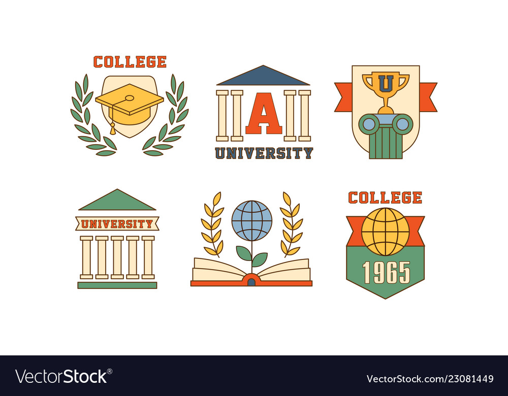 Set emblems for universities and