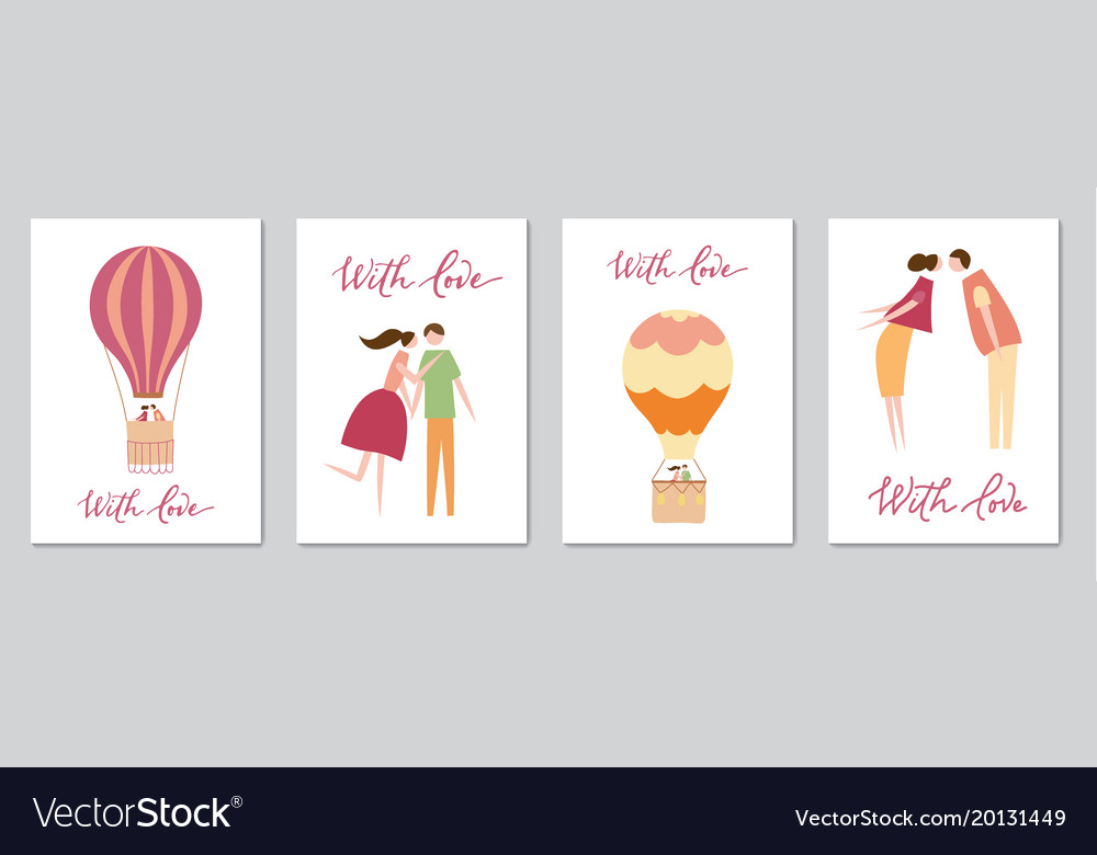 Set of cards with hot air balloon vector image