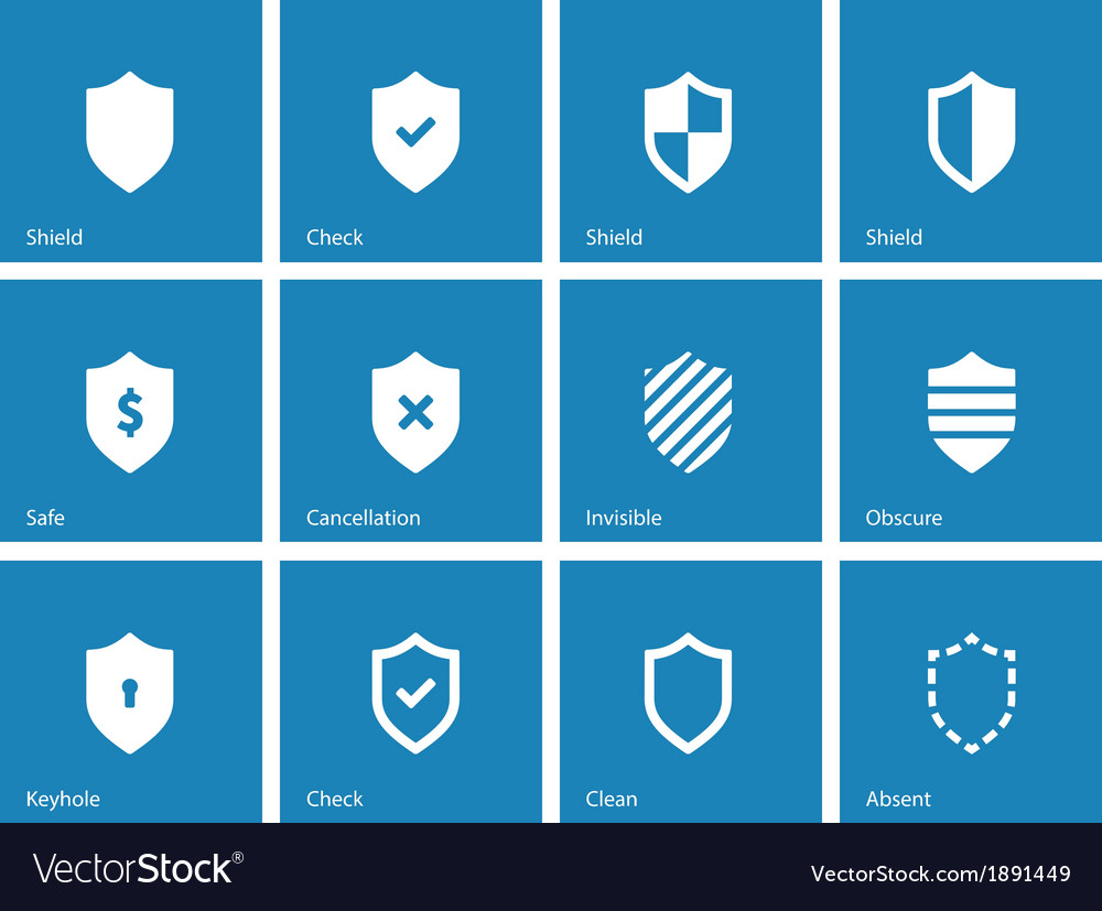 Shield icons on blue background