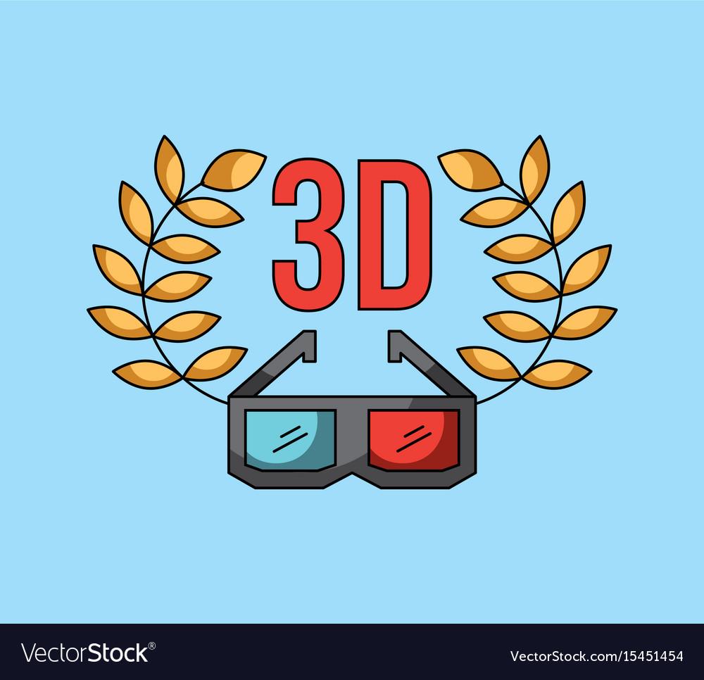 3d glass cinema art concept