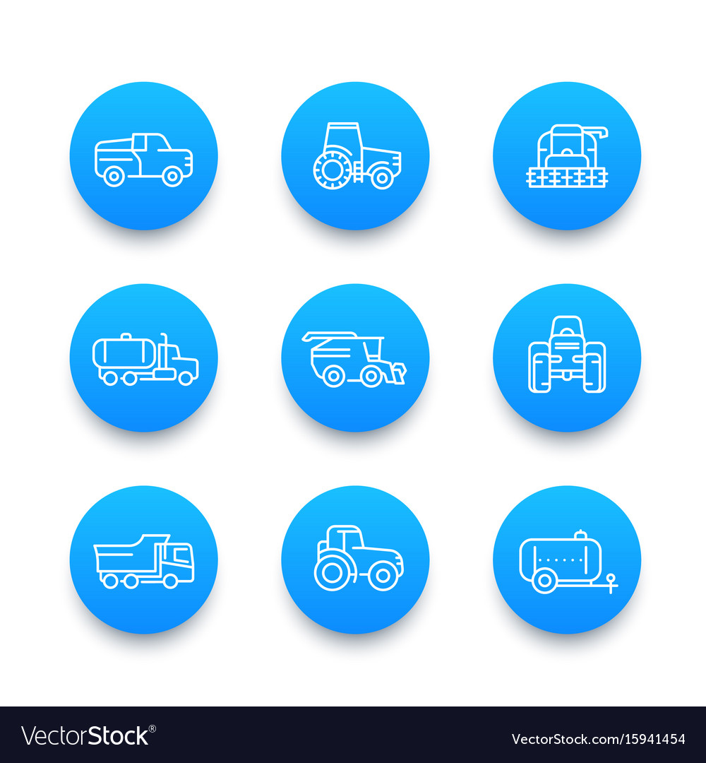 Agricultural machinery line icons set