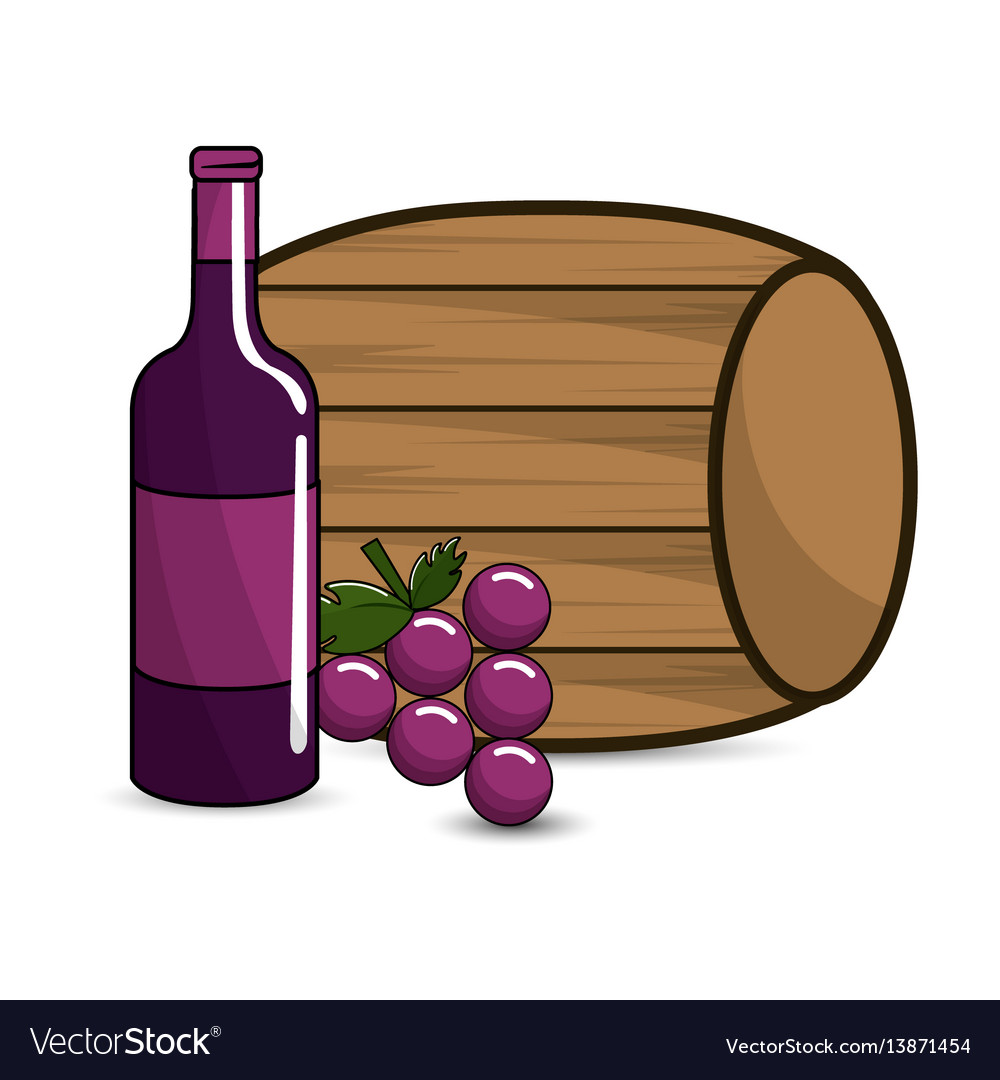 Barrel bottle of wine and grape icon