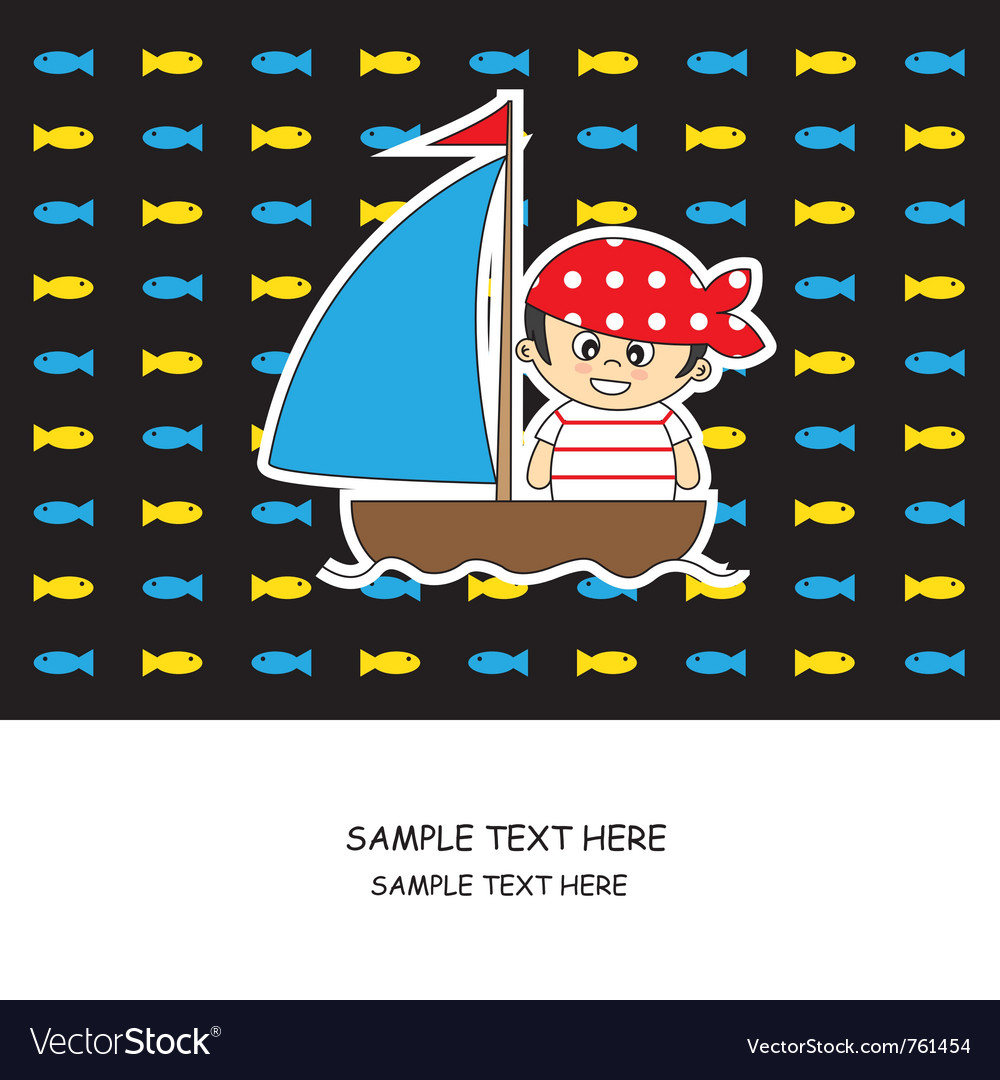 Boy pirate card vector image