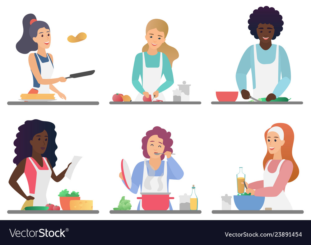 Cartoon happy cute people cooking set isolated