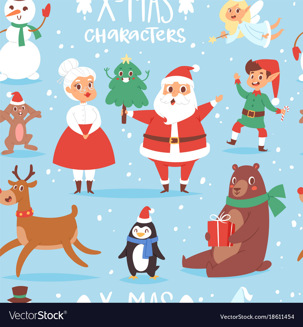 Christmas characters cute cartoon santa