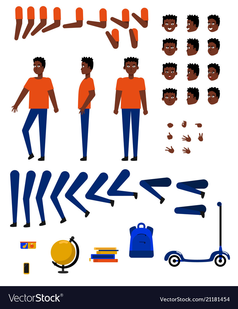 Flat african student creation set