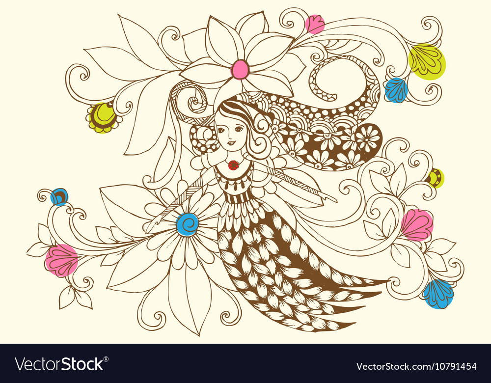 Flower fairy in pastel colors vector image