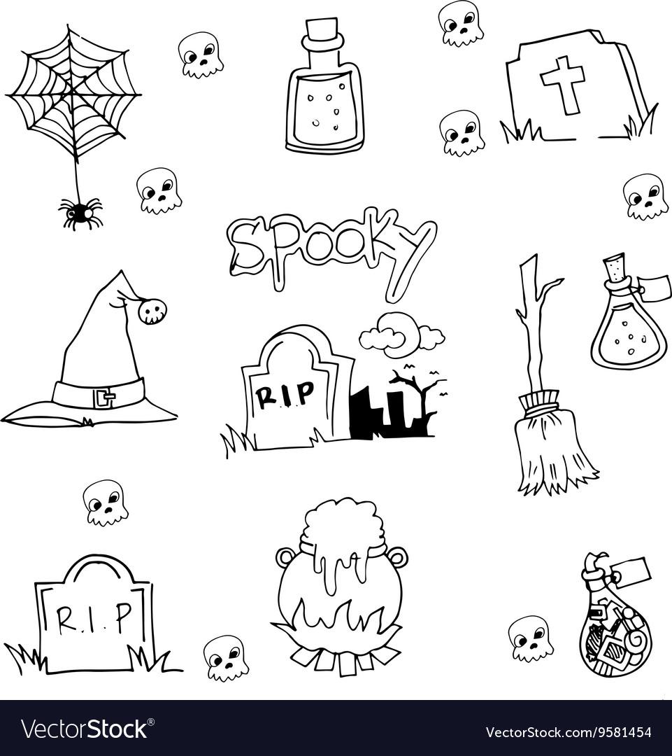 Halloween tomb element in doodle