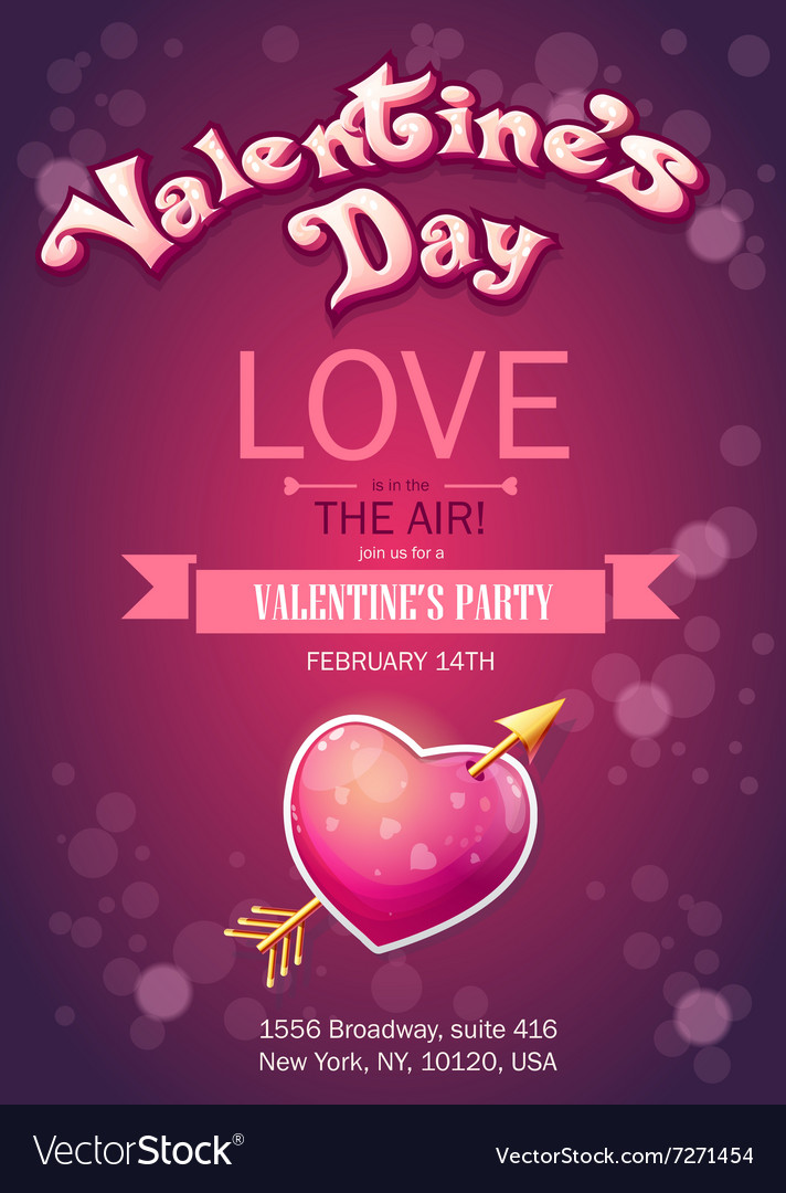 Invitation Card On Valentines Day Vertical