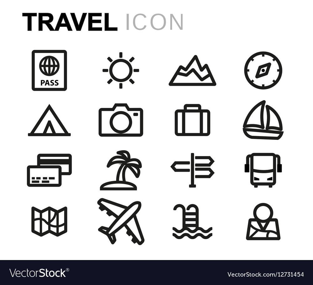 Line travel icons set