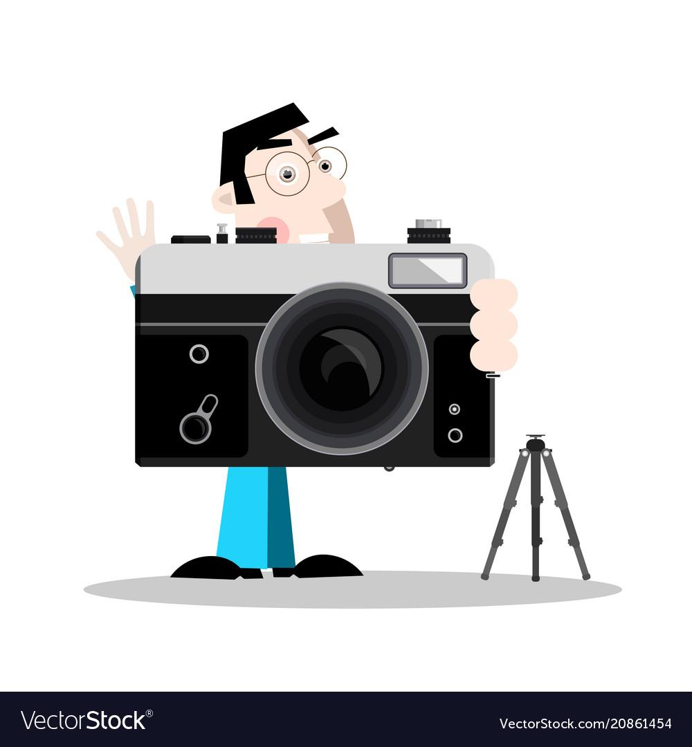Photographer with retro camera vector image