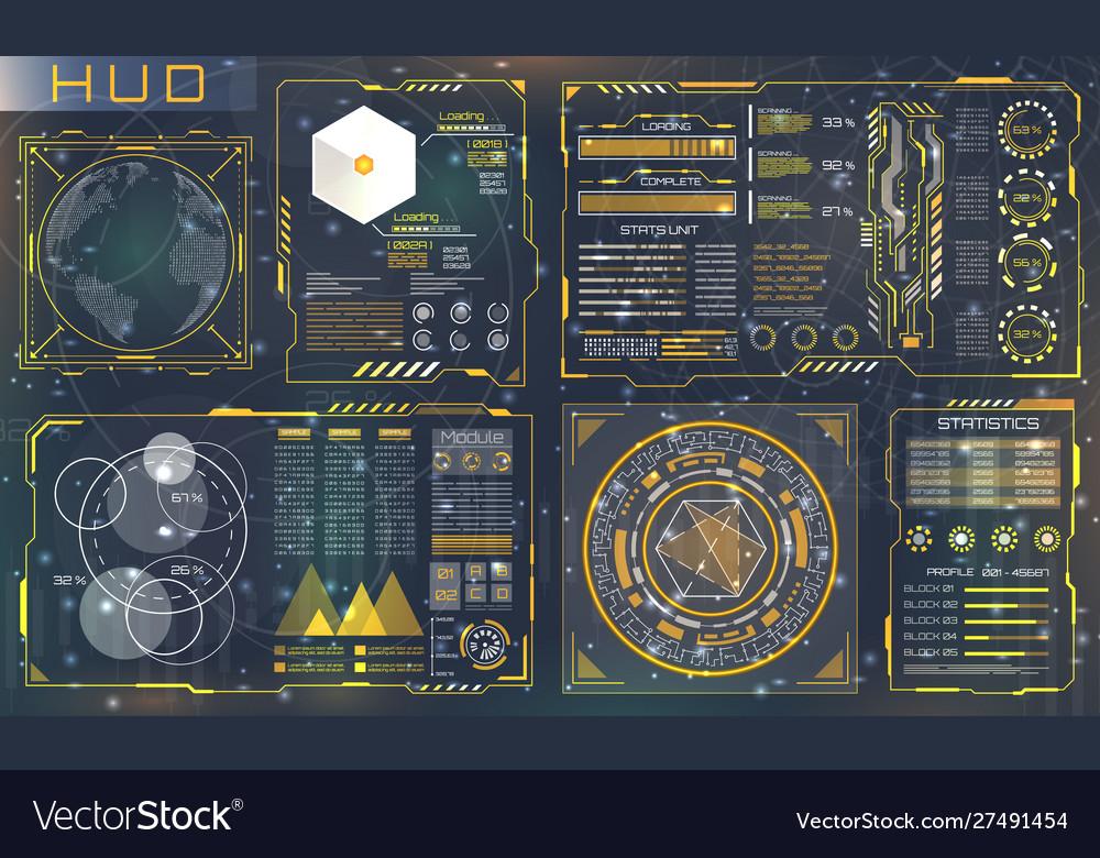 Set hud elements for futuristic design