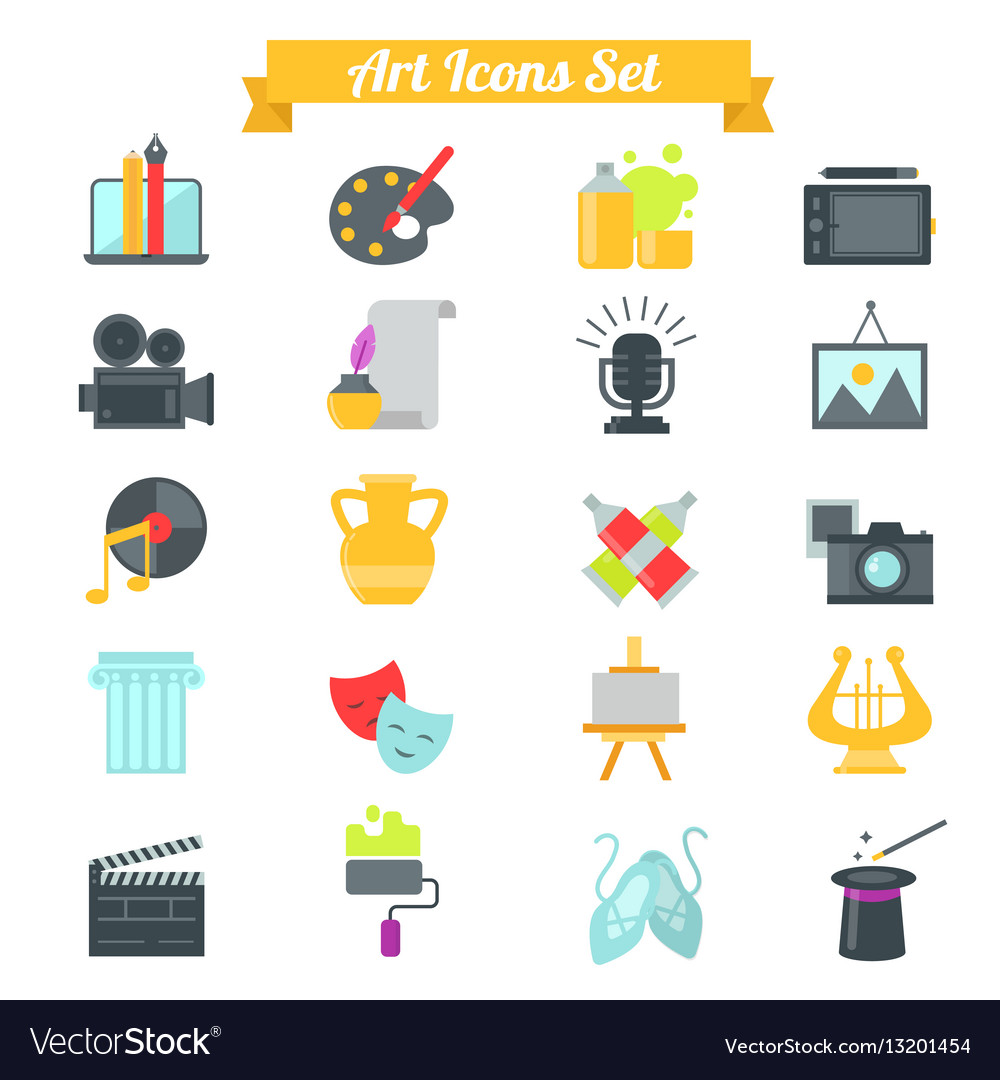 Set of art icons in flat design with long shadows