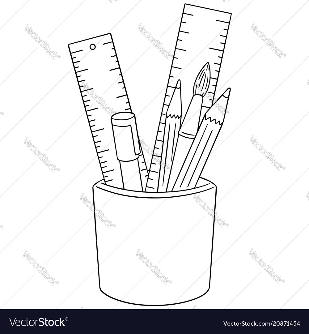 Set of pen pencil paintbrush and ruler