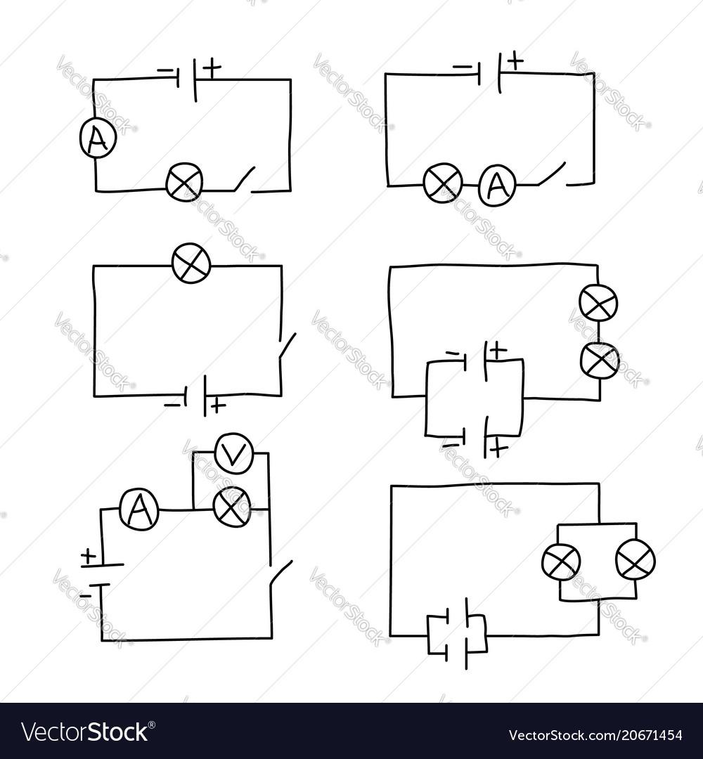 Fine Sketch Drawing Of An Electrical Circuit Set Vector Image Wiring Cloud Inamadienstapotheekhoekschewaardnl