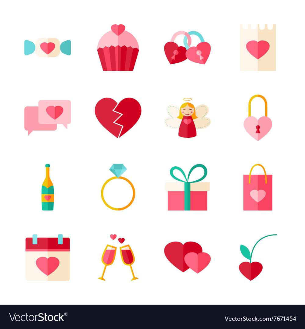 Valentines Day Flat Objects Set isolated over