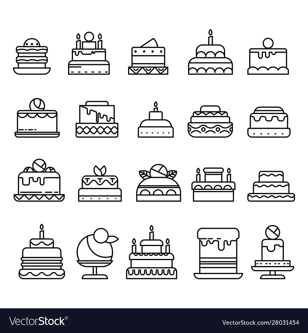Wedding and birthday cakes isolated line icons