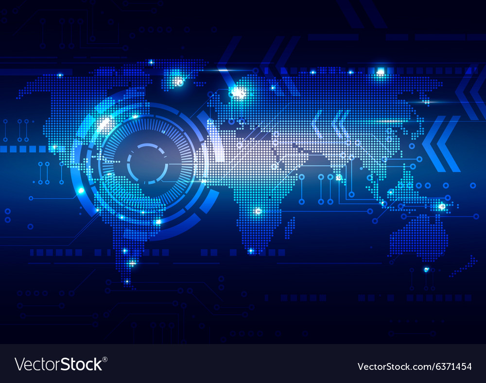 world map with technology dark blue background vector image