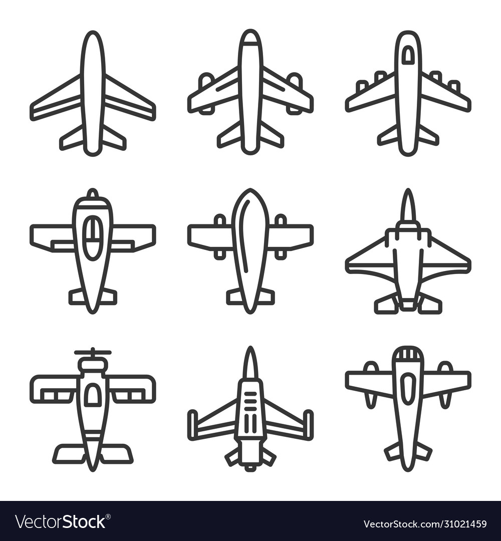 Airplane icons set on a white background line
