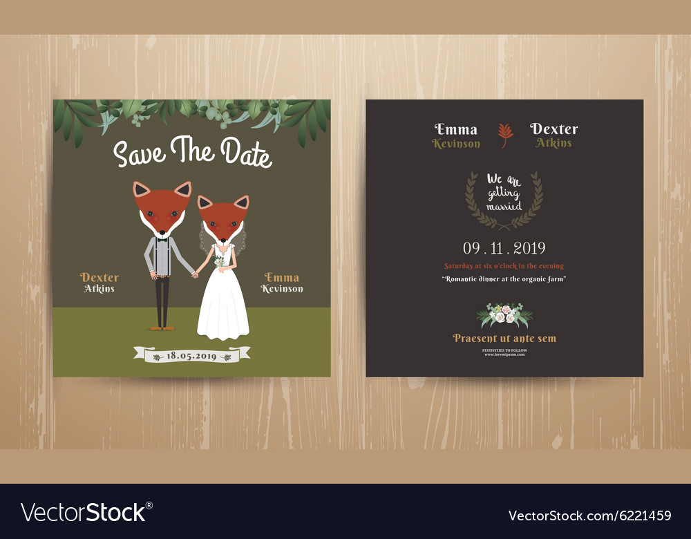 Animal bride and groom cartoon wedding invitation vector image