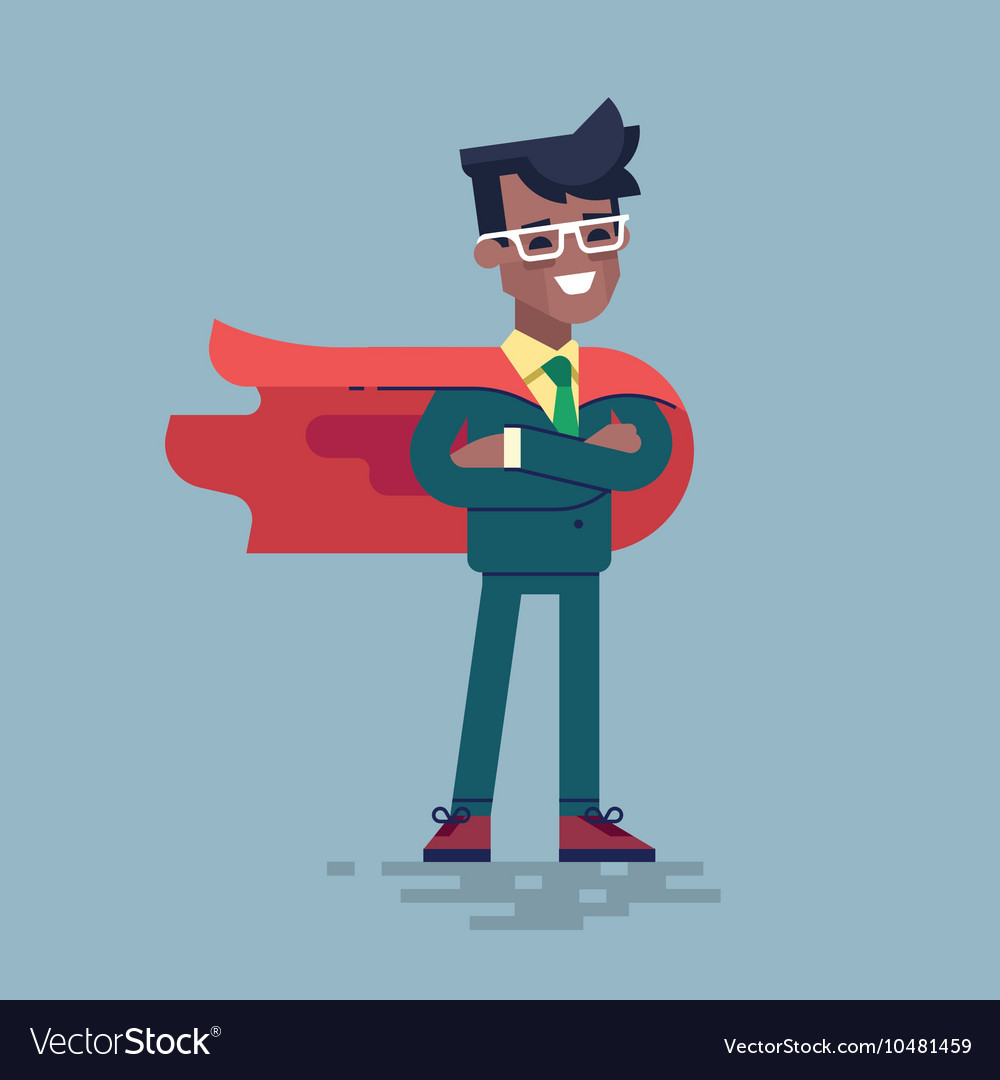 Black man in formal suit and red cape superhero