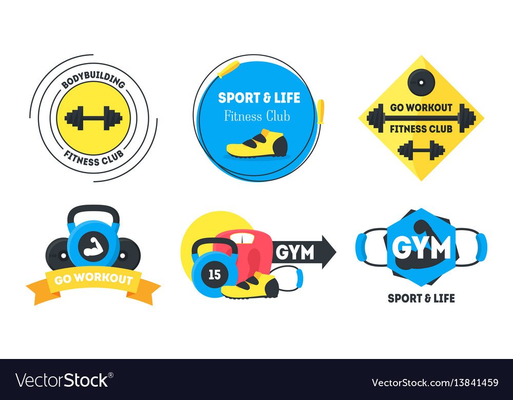 Cartoon fitness badges or labels set vector image