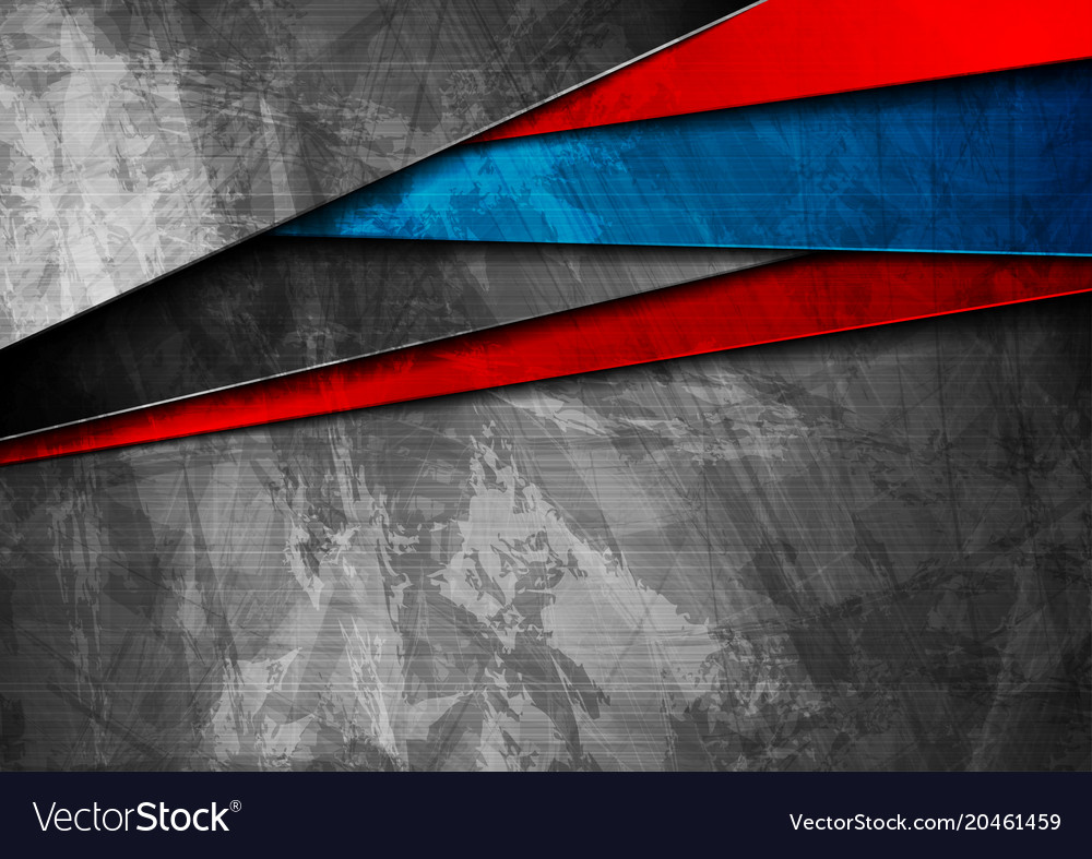Grunge tech material blue and red background vector image