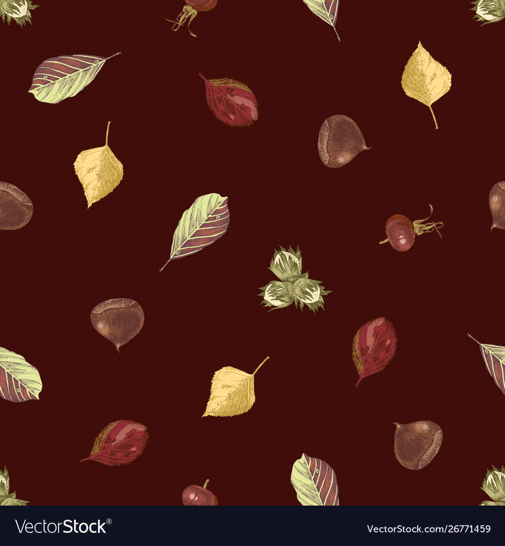 Hand drawn seamless pattern with autumn leaves