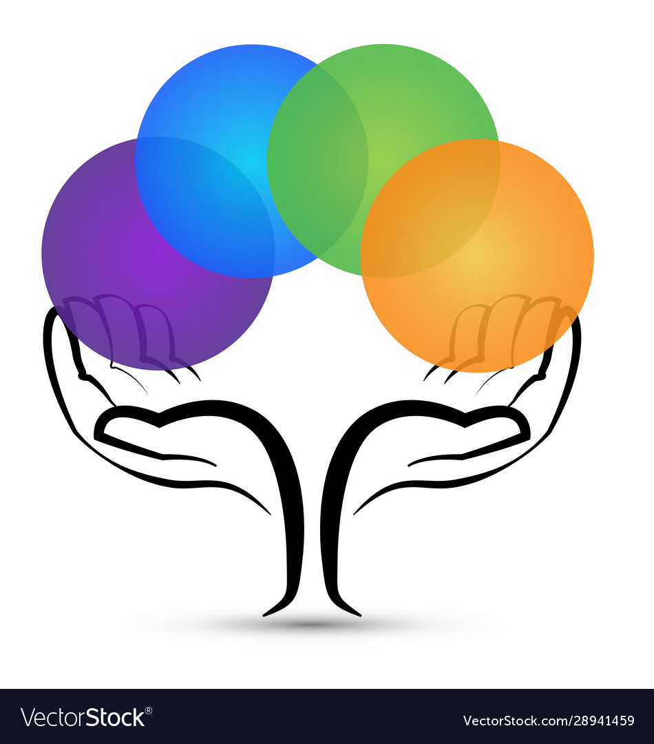 Hands tree holding colorful circles logo