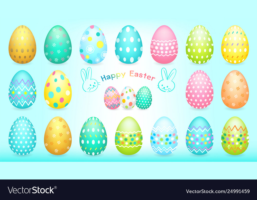 Happy easter banner with easter eggs collection