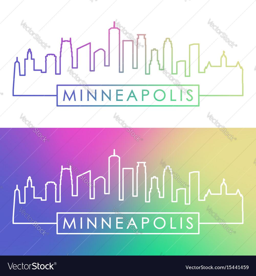 Minneapolis skyline colorful linear style