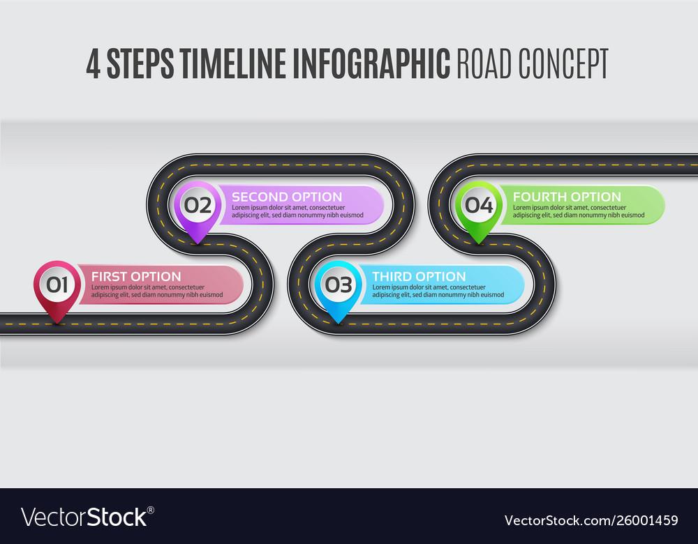 Navigation map infographic 4 steps timeline road