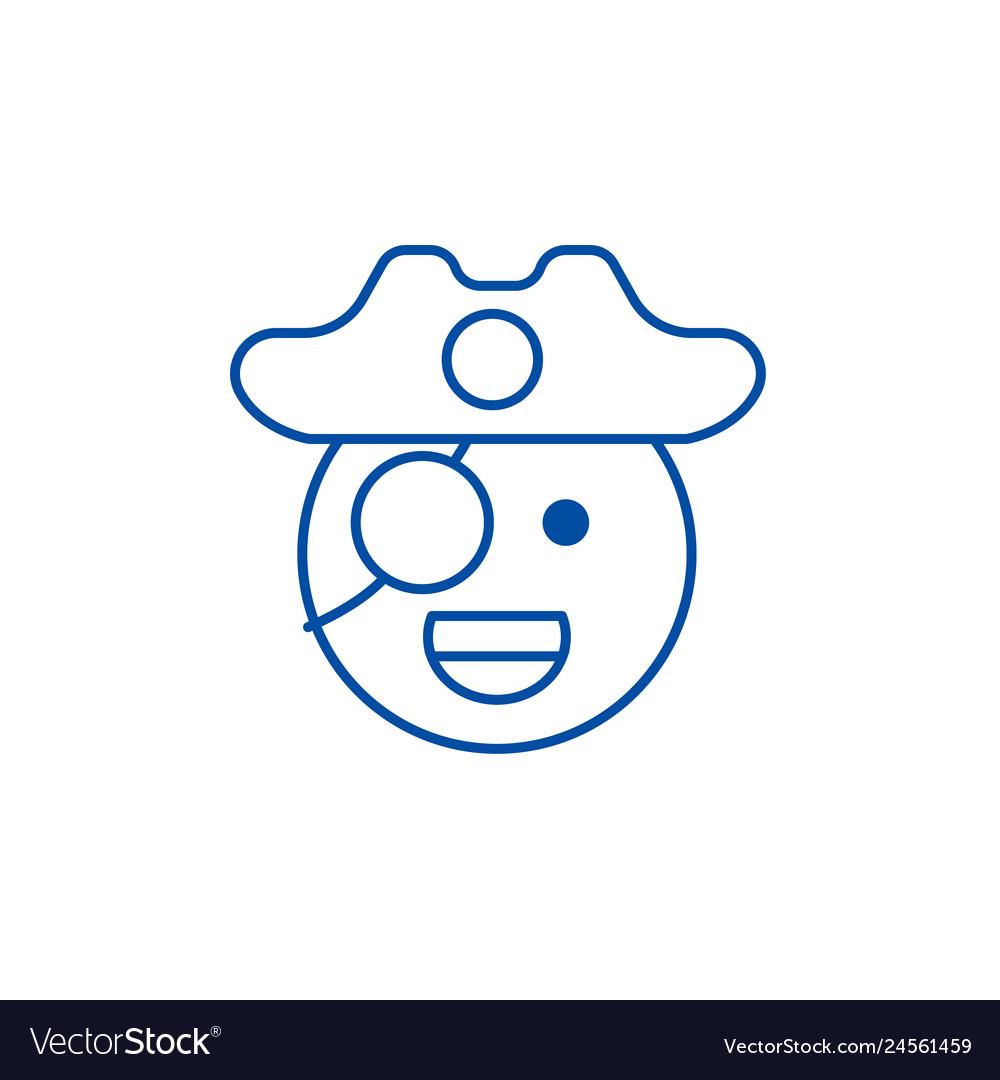 Pirate emoji line icon concept pirate emoji flat