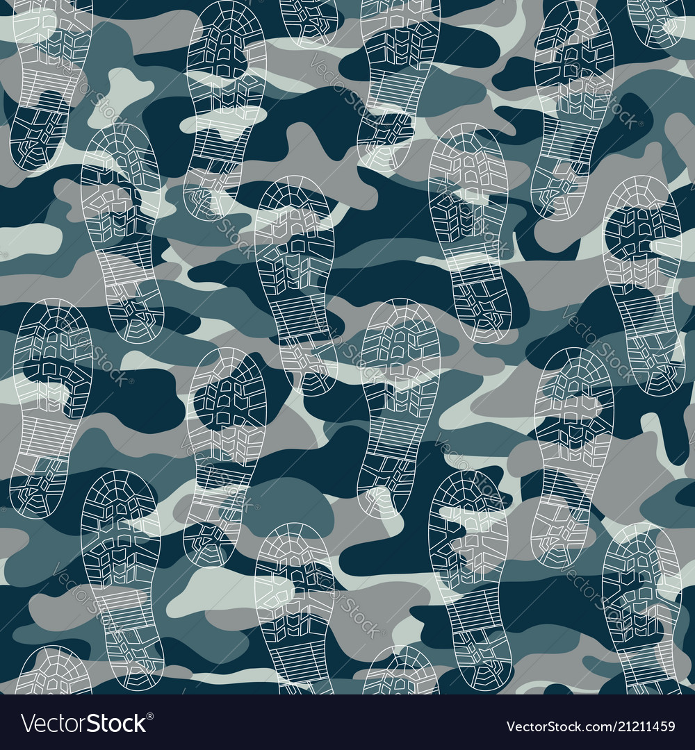 Seamless pattern with traces of military boots