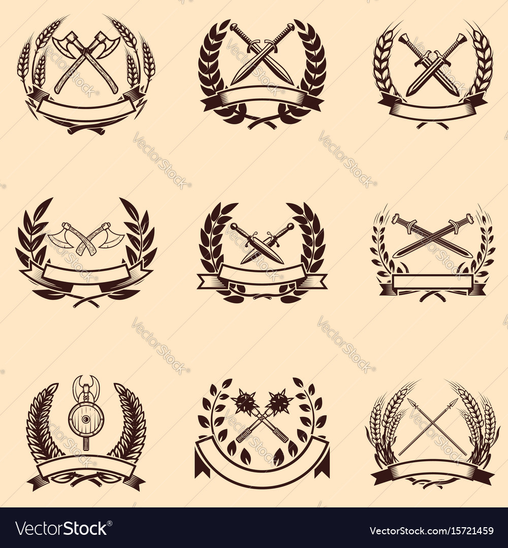 Set of emblems with wreaths and swords design