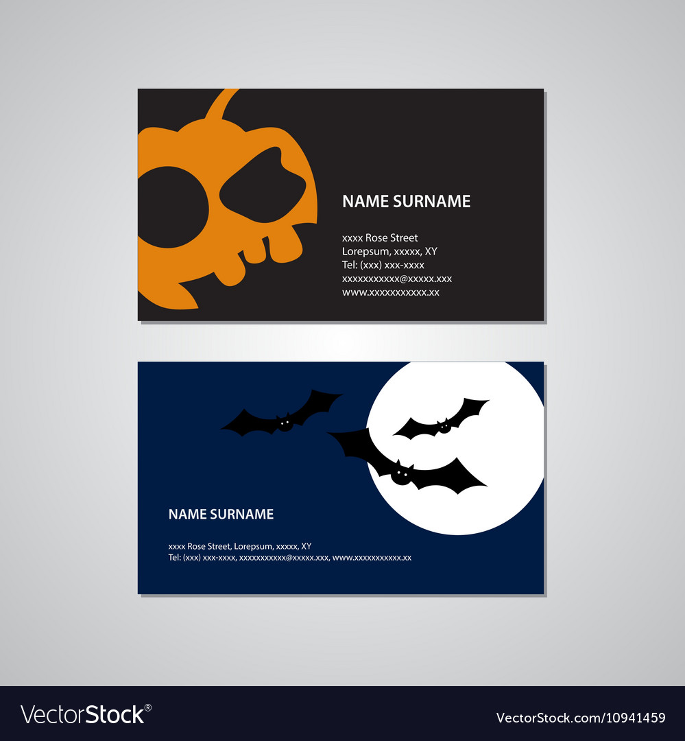 Set Of Two Halloween Business Cards Usa Standard