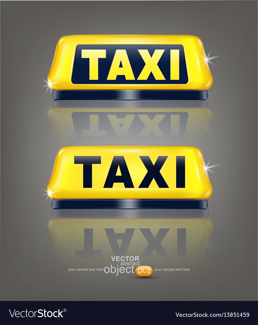 Set taxi signs with reflection isolated on