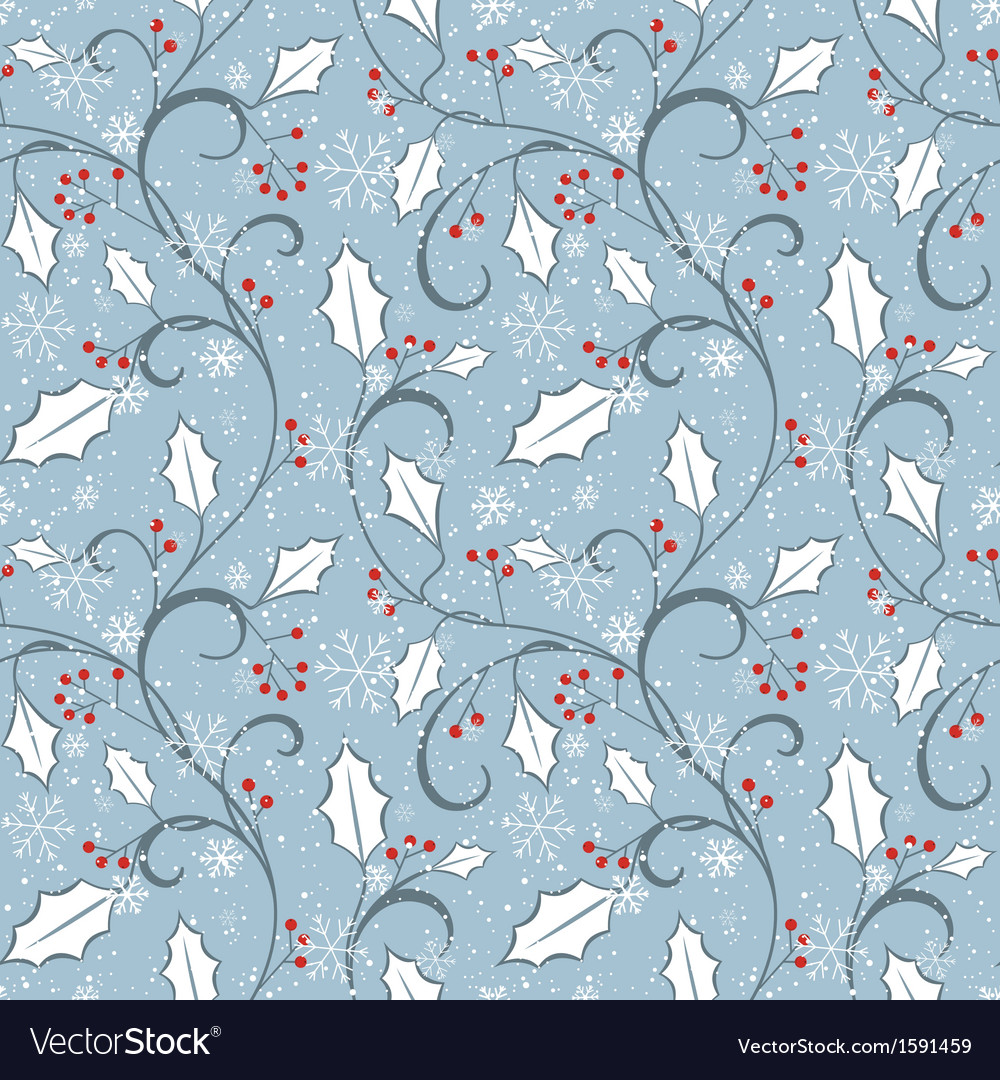 Winter pattern with holly ornament
