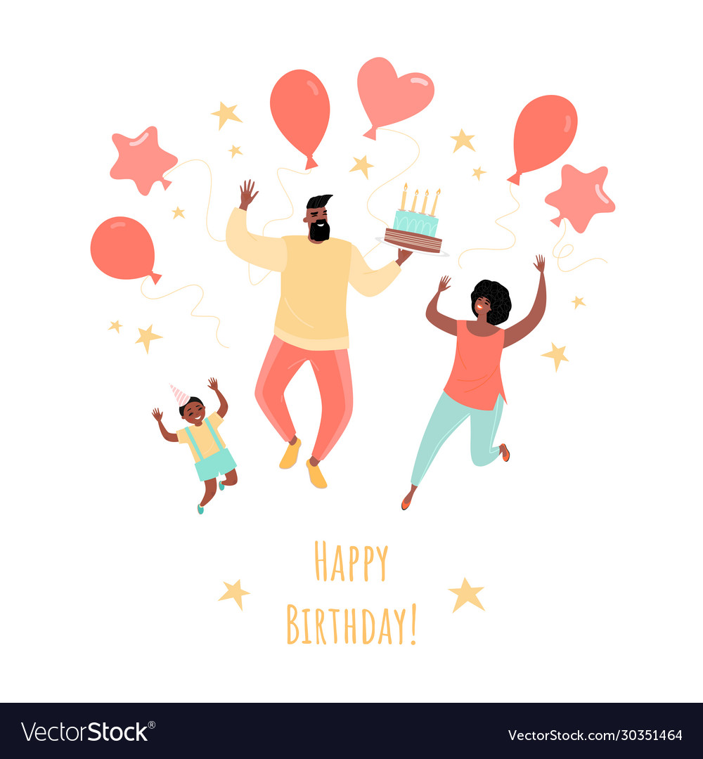 Birthday greeting card with a happy family vector