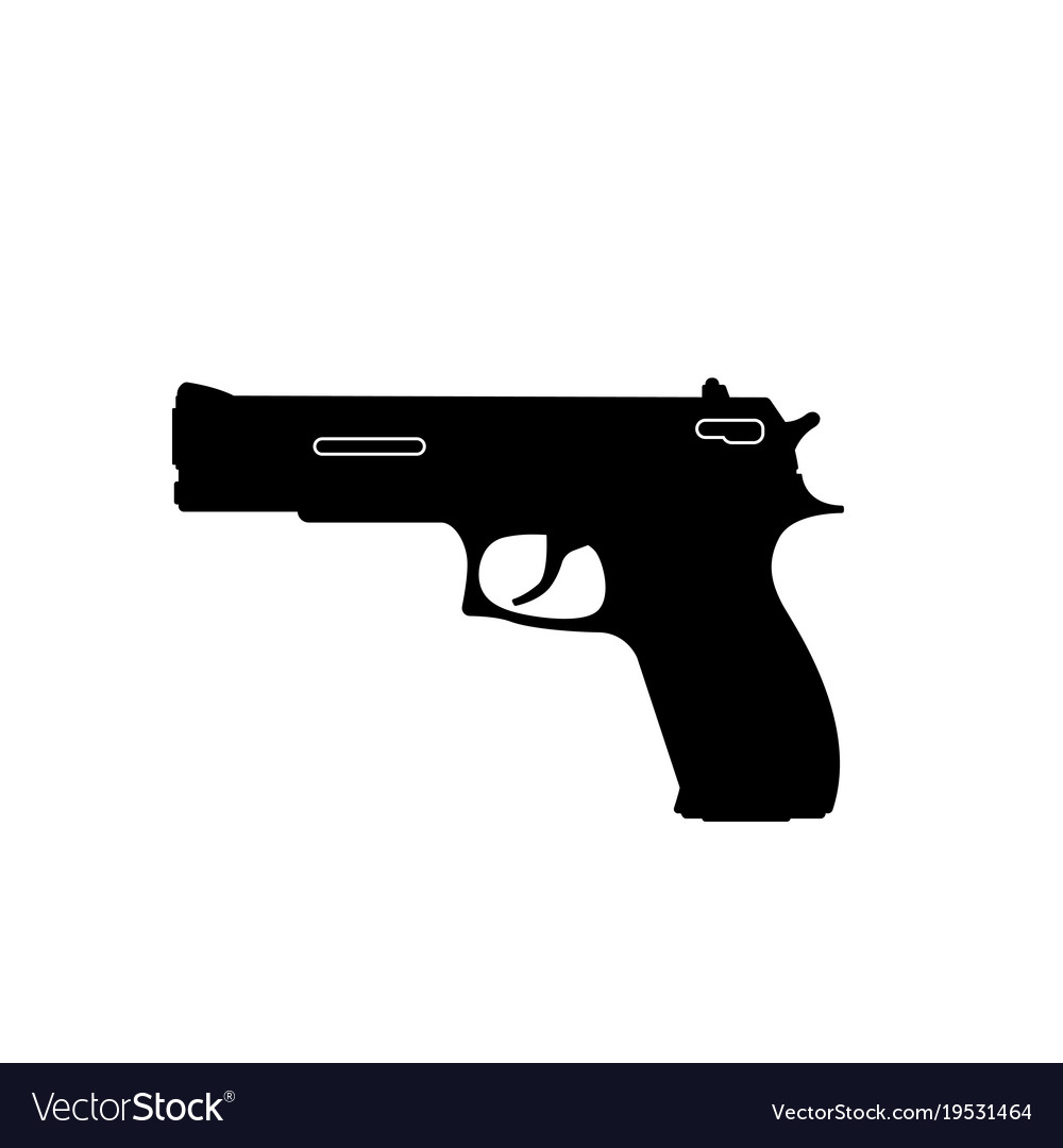 Black silhouette of gun on a white background