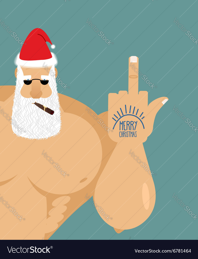 Bully bad Santa Claus shows Old grandfather vector image