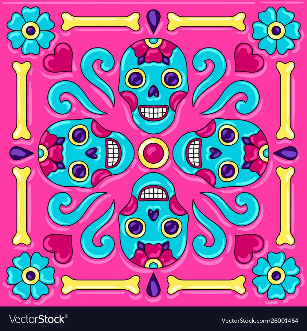 Day dead mexican talavera ceramic tile