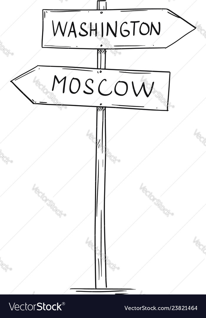 Drawing of old two directional arrow road sign