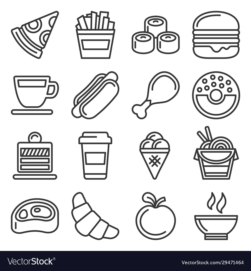 Fast food icons set on white background line