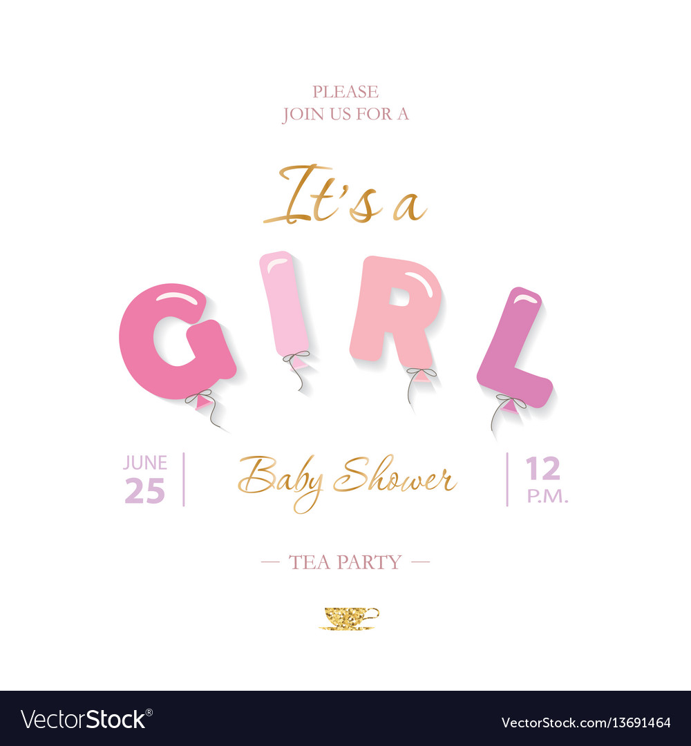 Girl baby shower cute template party invitation