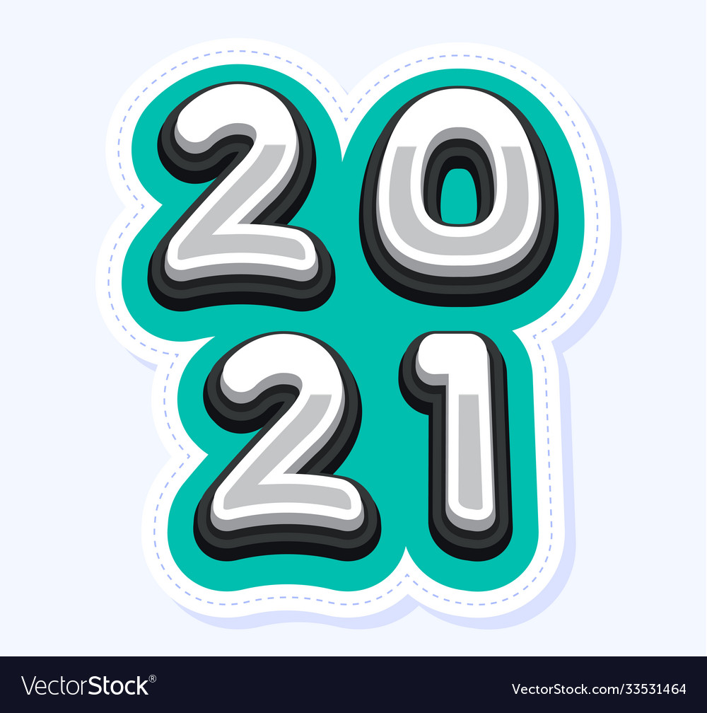 Happy new year 2021 cute greeting card