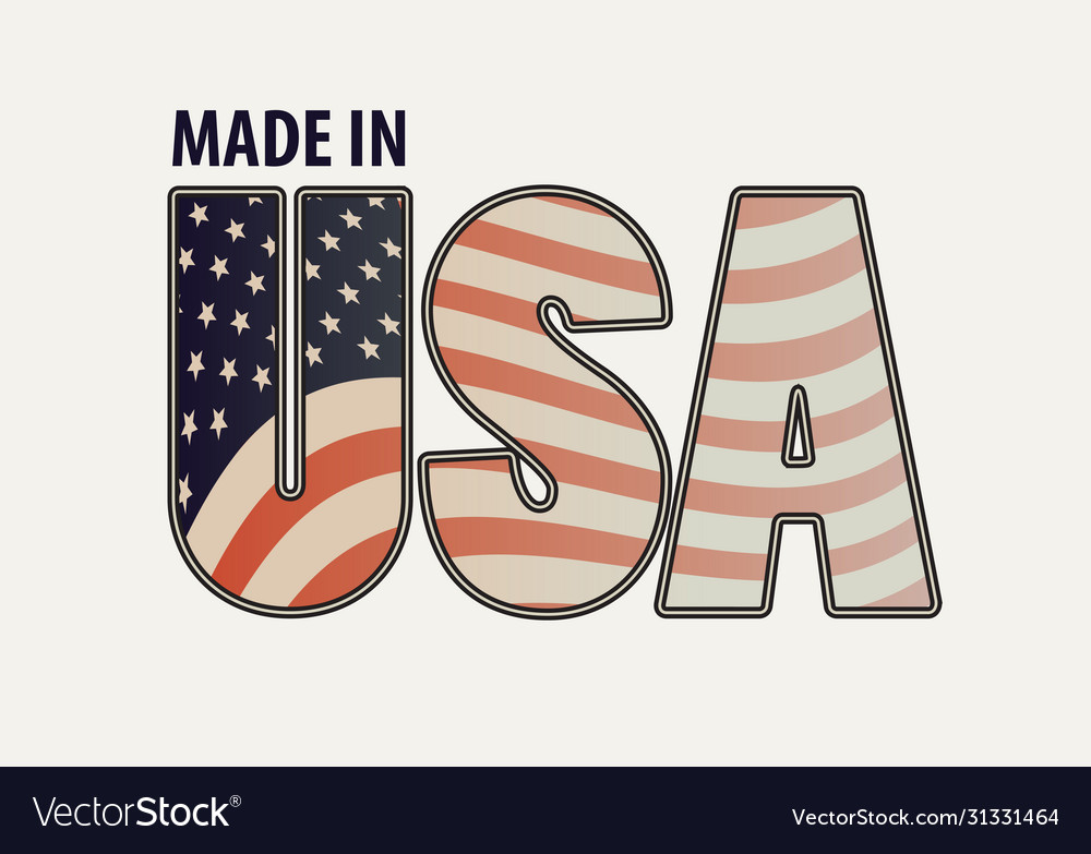 Letters usa in colors american flag