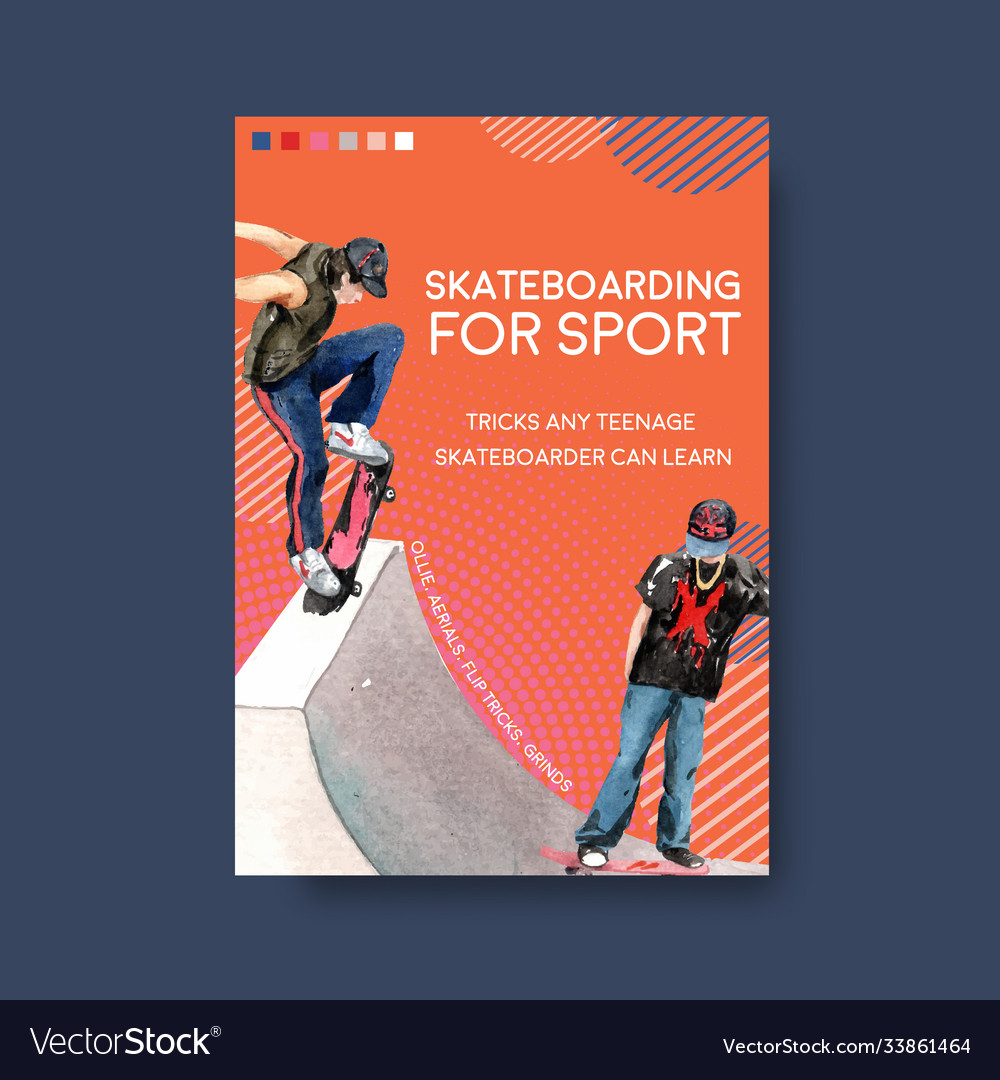 Poster template with skateboard design concept