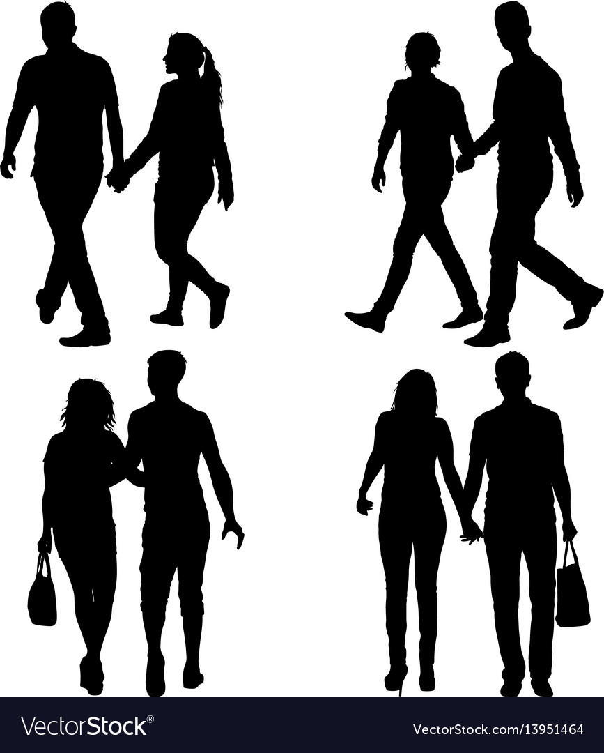 Set silhouette man and woman walking hand in hand vector image