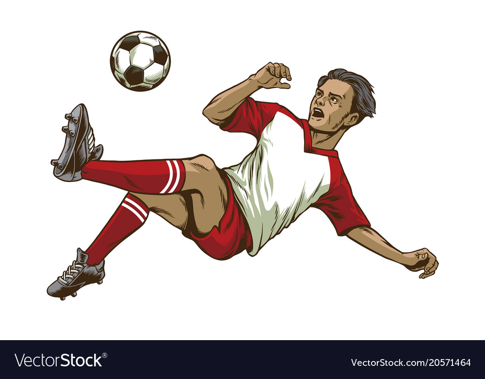 Soccer player doing overhead kick shot vector image